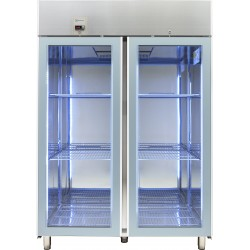Хладилник с 2 стъклени врати 1430 л, +2/+10 оС,