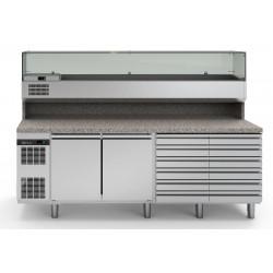 Хладилна маса 2 врати + 12 чекмеджета, с мраморен плот